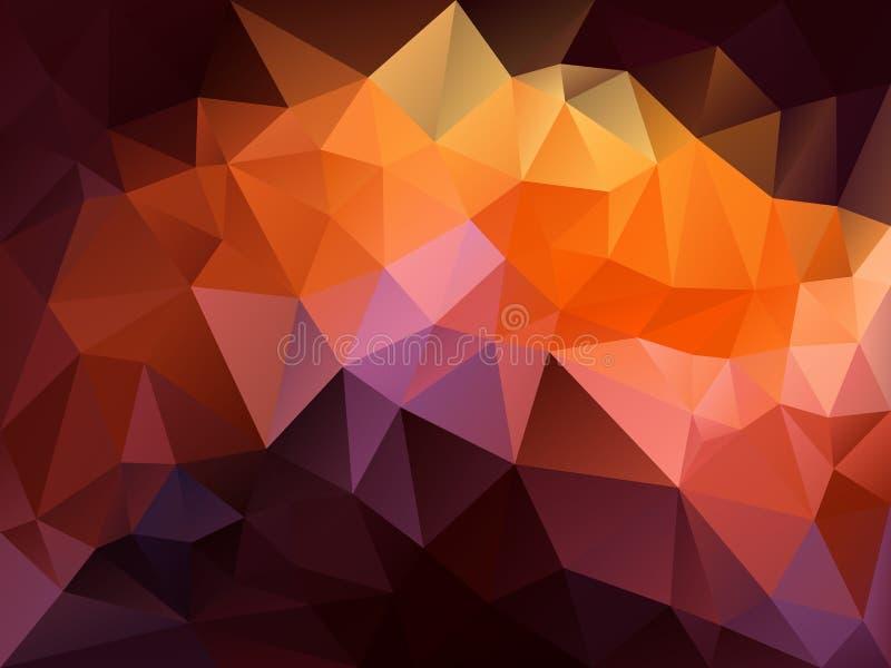 Vector onregelmatige veelhoekachtergrond met een driehoekspatroon in herfstkleur - heet trillend rood, sinaasappel, purple, roze, vector illustratie