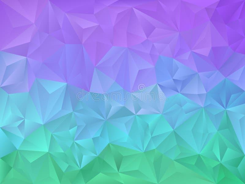 Vector onregelmatige veelhoekachtergrond met een driehoekspatroon in trillende neon groene, blauwe, purpere kleur vector illustratie