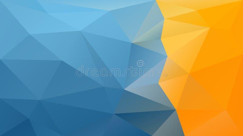 Vector onregelmatige veelhoekige achtergrond - driehoeks laag polypatroon - hemel blauwe en geeloranje gekleurde strook op juiste stock illustratie