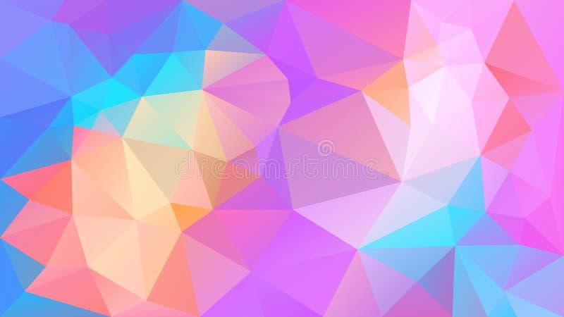 Vector onregelmatige veelhoekige achtergrond - driehoeks laag polypatroon - het holografische leuke spectrum van de regenboog vol stock illustratie