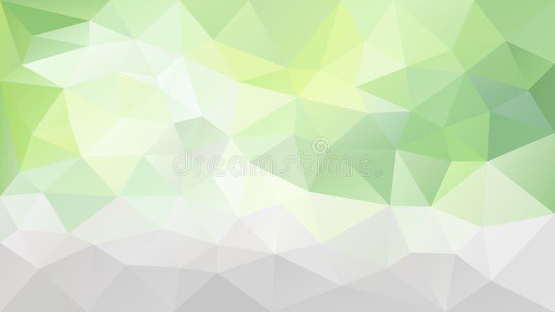 Vector onregelmatige veelhoekige achtergrond - driehoeks laag polypatroon - lichte kalk groene, grijze en witte kleur vector illustratie