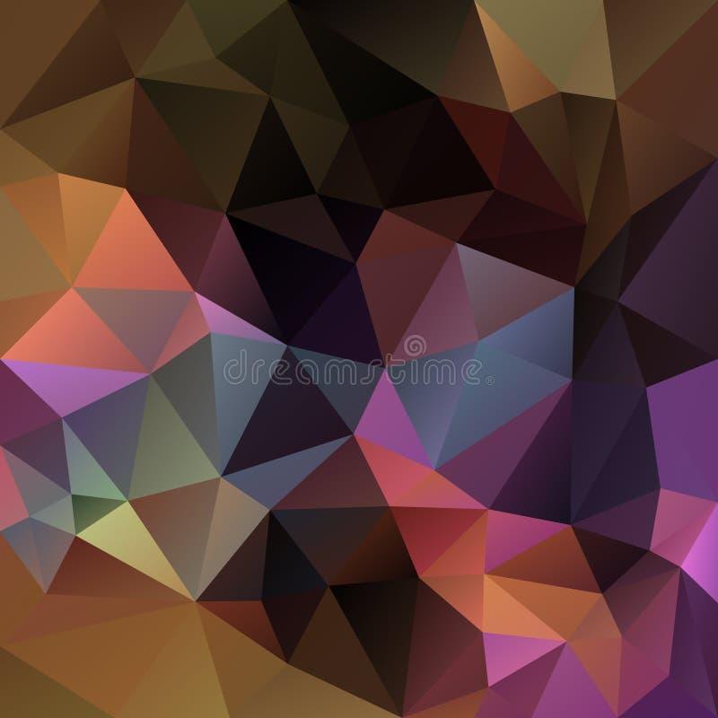 Vector onregelmatige veelhoekige vierkante achtergrond - bruin driehoeks laag polypatroon -, purper, Bourgondië, oker, kaki kleur vector illustratie
