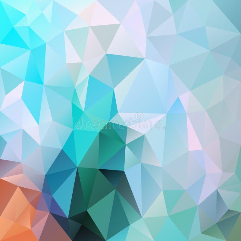 Vector onregelmatige veelhoekvierkantsachtergrond - driehoek laag poly patroon - kleur arctische blauwe munt groen oranje vector illustratie