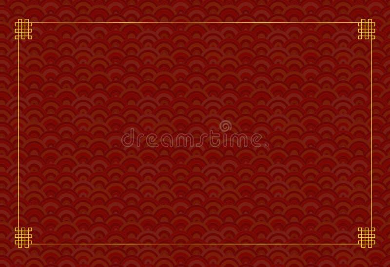 Vector Oosters Malplaatje Als achtergrond, Naadloos Geometrisch Rood Patroon en Gouden Kader stock illustratie