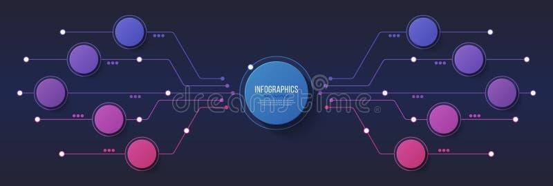 Vector 10 opções projeto infographic, carta de estrutura, presentat ilustração royalty free
