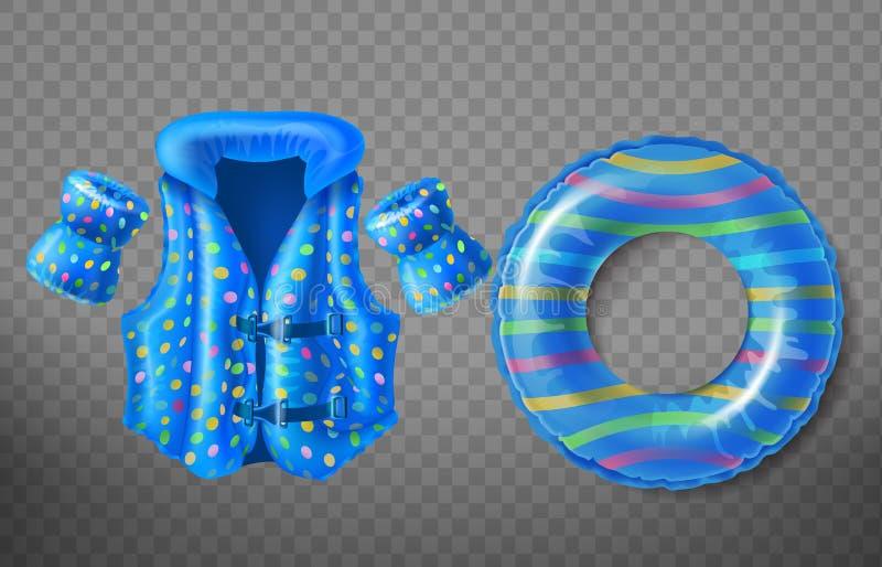 Vector opblaasbaar zwemt ring, reddingsvest, armbanden royalty-vrije illustratie