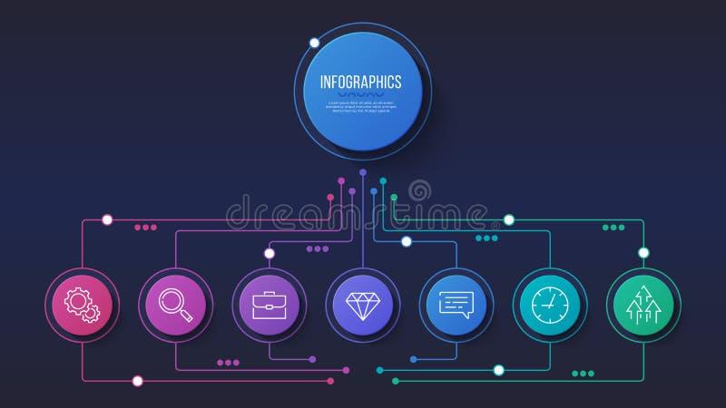 Vector 7 opciones diseño infographic, carta de estructura, libre illustration