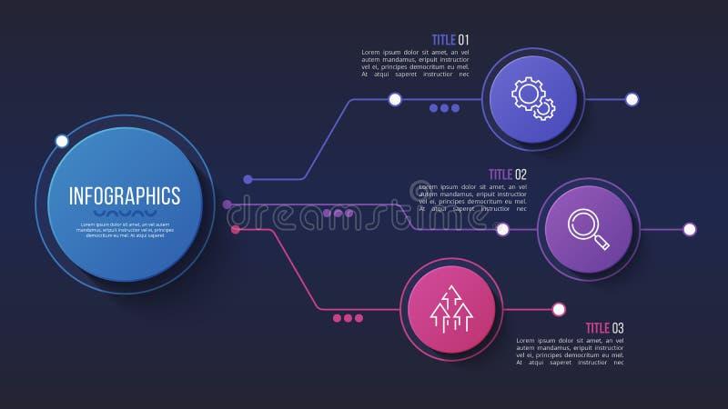Vector 3 opciones diseño infographic, carta de estructura, stock de ilustración