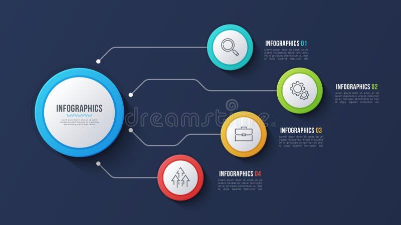 Vector 4 opciones diseño infographic, carta de estructura, presentati libre illustration