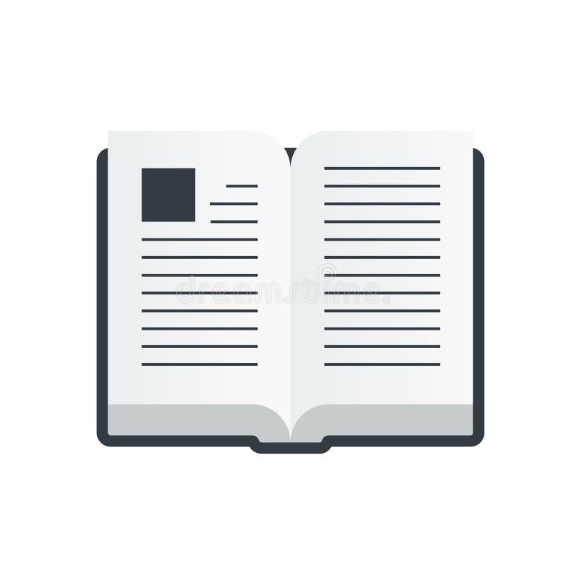 Vector open boekpictogram in een vlakke die stijl op witte achtergrond wordt geïsoleerd stock foto