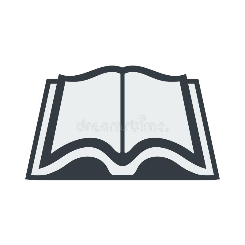 Vector open boekpictogram in een vlakke die stijl op witte achtergrond wordt geïsoleerd royalty-vrije stock afbeeldingen