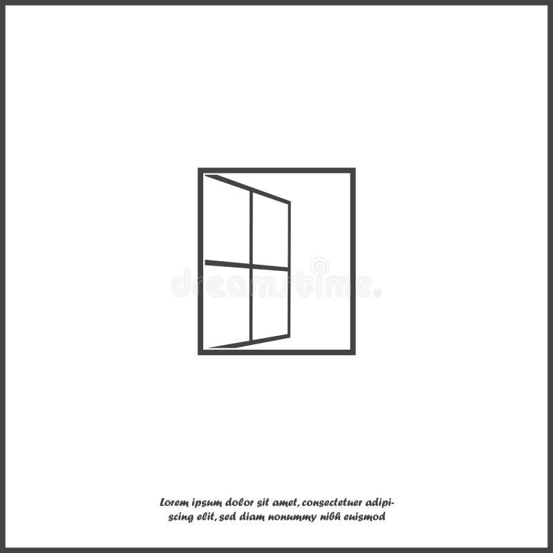 Vector open vensterpictogram Venster wijd open op wit geïsoleerde achtergrond stock illustratie