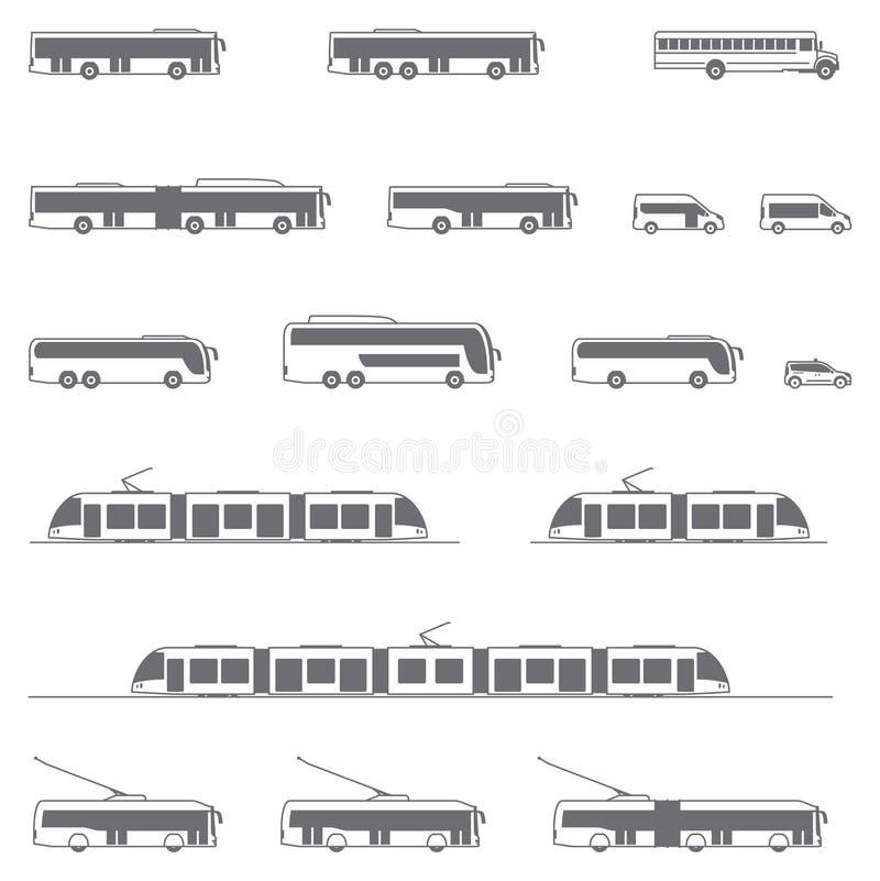 Vector openbaar vervoerpictogrammen royalty-vrije illustratie