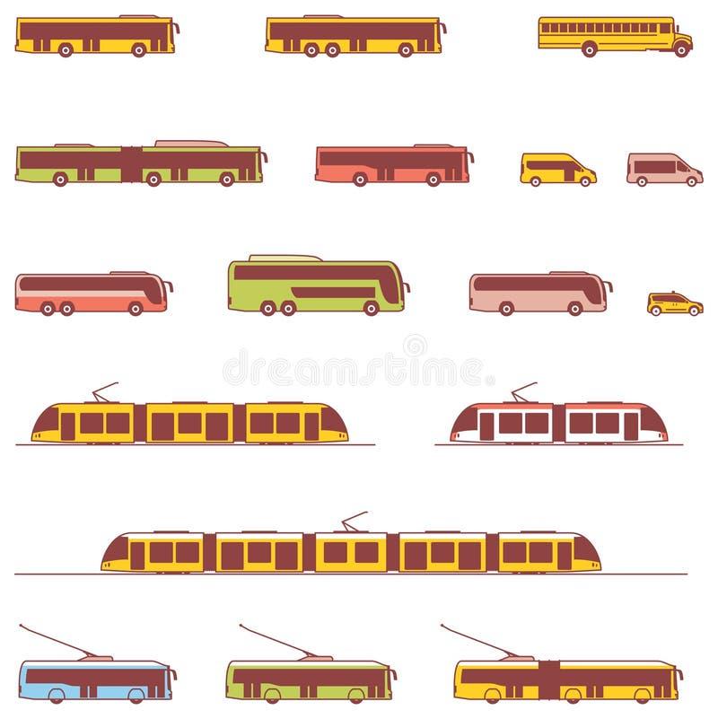 Vector openbaar vervoerpictogrammen stock illustratie
