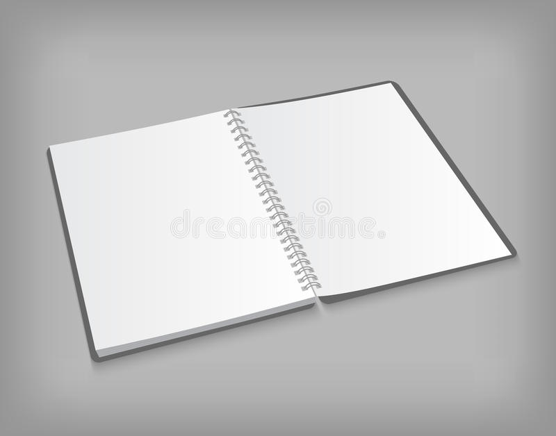 Vector opened blank notebook on gray background stock illustration
