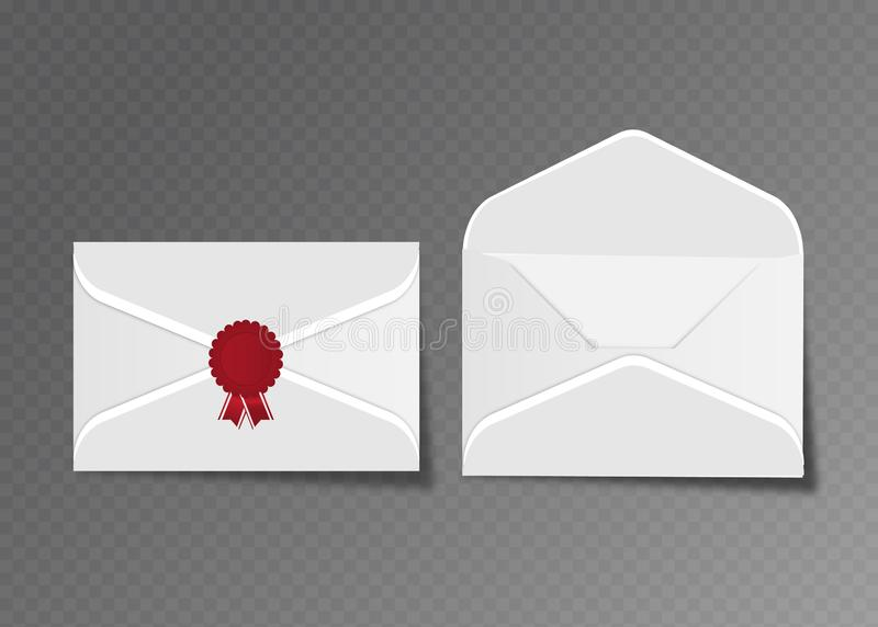 Vector opened and closed white envelopes. Isolated on transparent background mockup template, advertisement, invitation cards or vector illustration