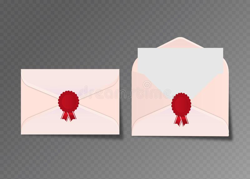 Vector opened and closed white envelopes. Isolated on transparent background mockup template, advertisement, invitation cards or royalty free illustration