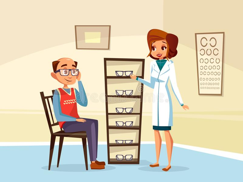 Vector ophtalmogogist diopters glasses selection. Vector cartoon woman doctor ophthalmologist helps adult man patient with diopters glasses selection. Female stock illustration