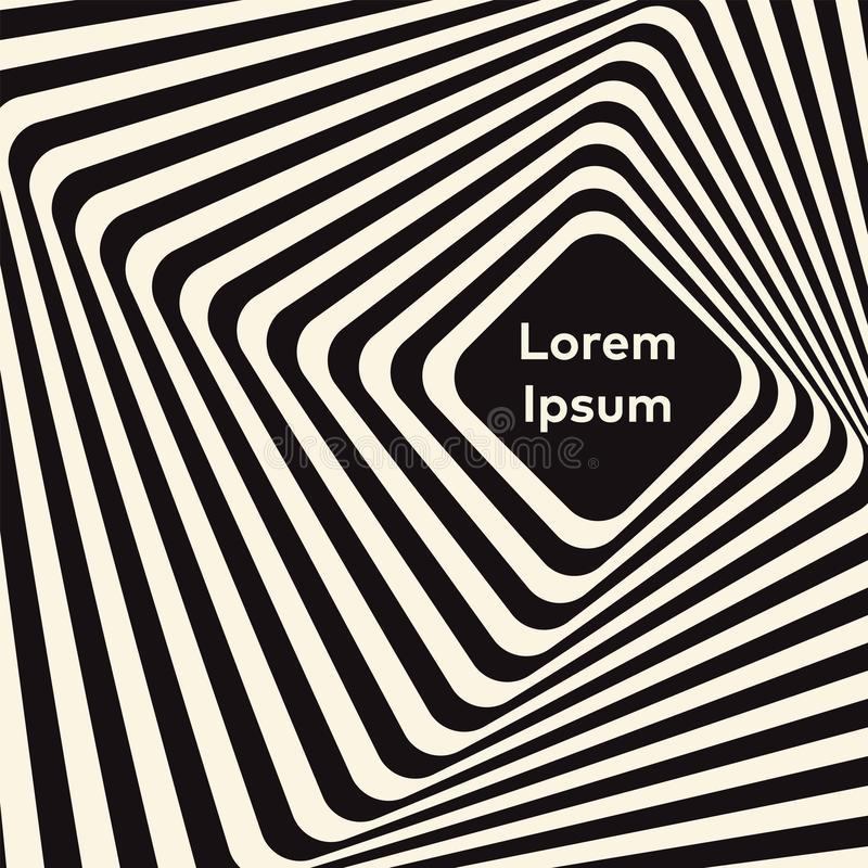 Vector optical art illusion of striped geometric black and white abstract surface flowing like a hypnotic worm-hole tunnel. royalty free illustration