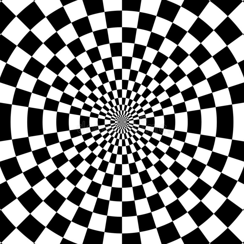 Vector optical illusion black and white twisted stripes abstract background vector illustration