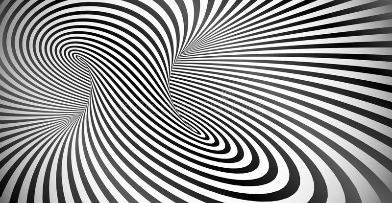 Vector optical illusion black and white twisted stripes background stock illustration