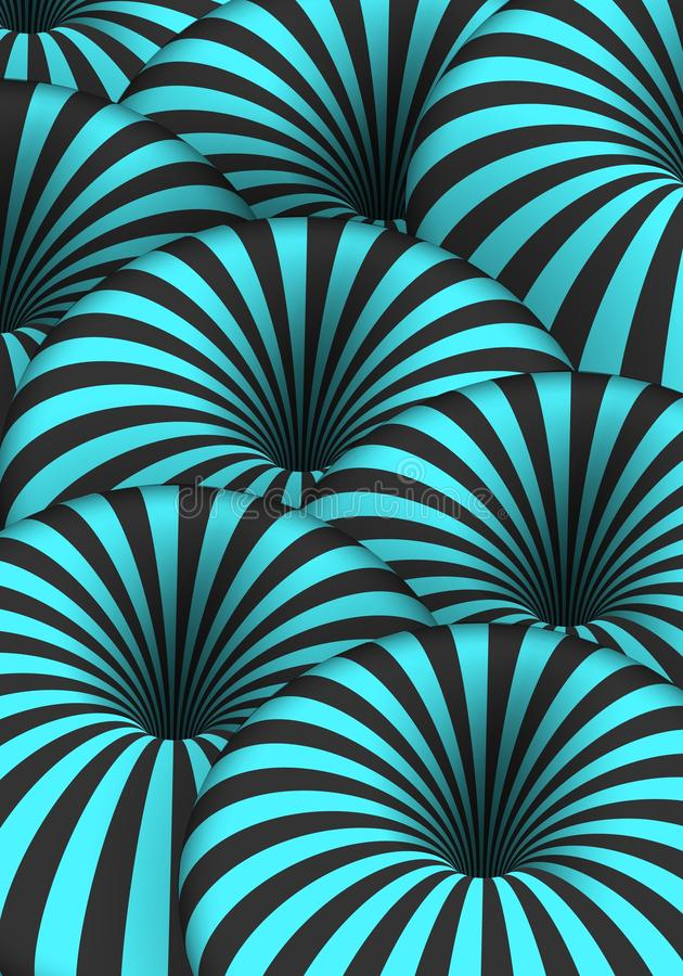 Vector Optical Illusion. Spiral Tunnel Hole Effect. Striped 3D Motion Lines royalty free illustration