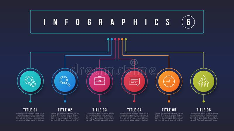 Vector 6 options infographic design, structure chart, presentati. On template. Editable stroke and global swatches royalty free illustration