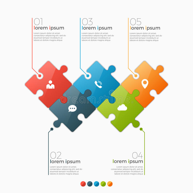 Vector 5 options infographic template with puzzle sections. For presentations, advertising, layouts, annual reports royalty free illustration