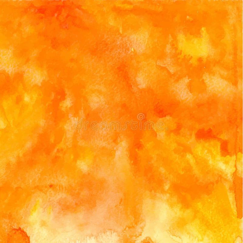 Vector orange abstract hand drawn watercolor background royalty free stock images