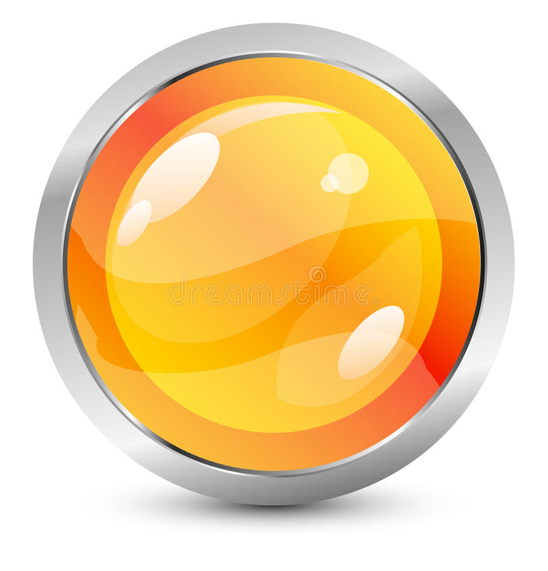 Vector orange button with metal stroke royalty free illustration