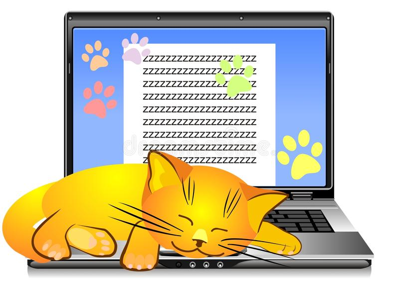vector Orange cat asleep on laptop keyboard royalty free stock images
