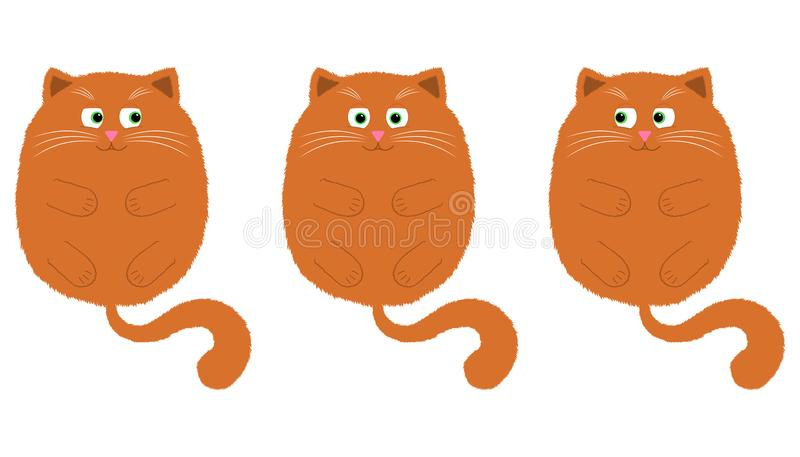 Vector Orange Cat in Cartoon Style. 2. Vector Orange Cat in Cartoon Style. Funny Illustration of Orange Kitten with Green Eyes, Lying on the Back with Paws and stock illustration