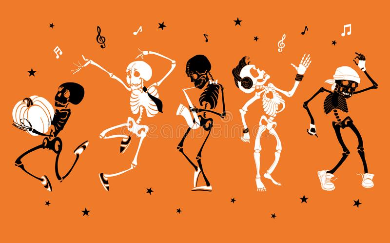 Vector orange dancing and musical skeletons Haloween set collection. royalty free illustration