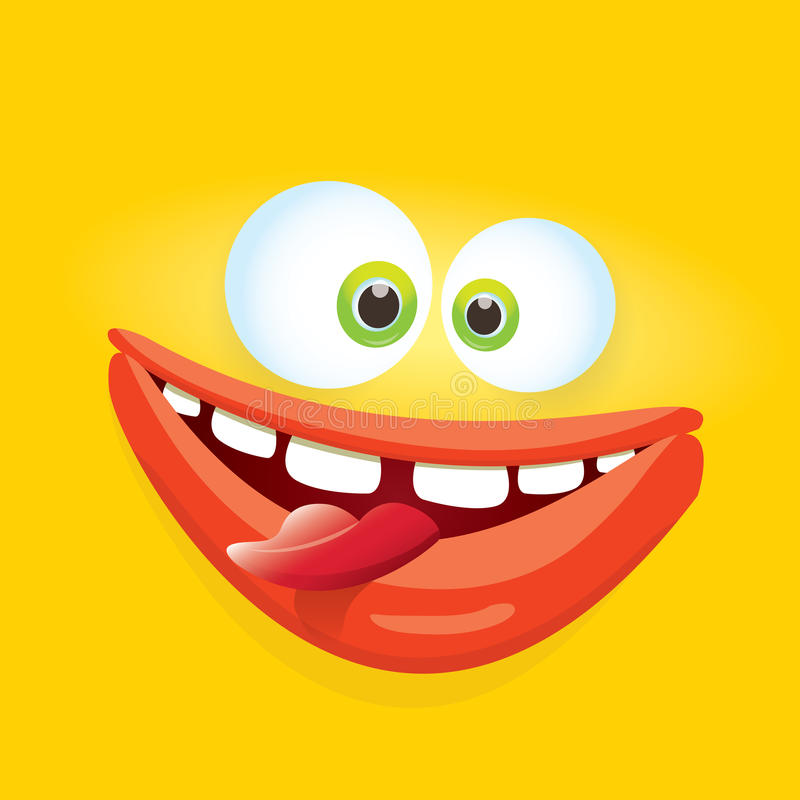 Vector orange funny comic monster face. Vector orange funny monster face. cartoon monster smiling face for kids background or greeting cards. kids hoodie or t vector illustration