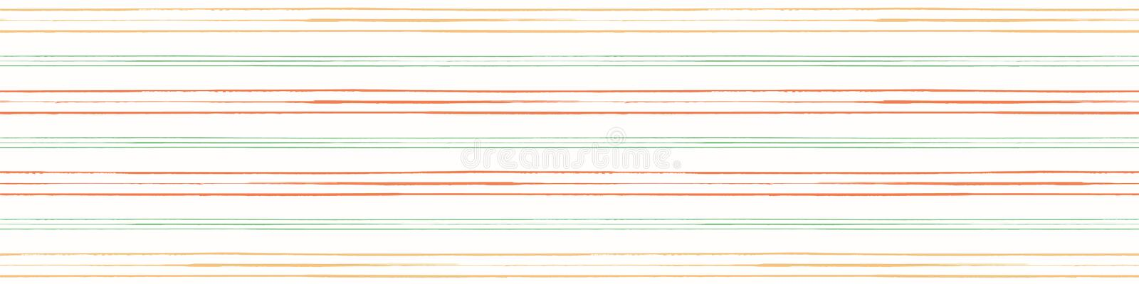 Vector orange, green and yellow grunge striped border. Seamless pattern on cream white background. Perfect for textiles royalty free illustration