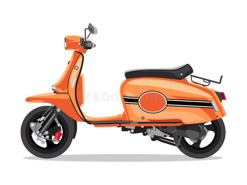 Vector orange Retro- Roller, Seitenansicht der flachen Art Trübsal geblasen für Lieferung, Roller für Tourismus vektor abbildung