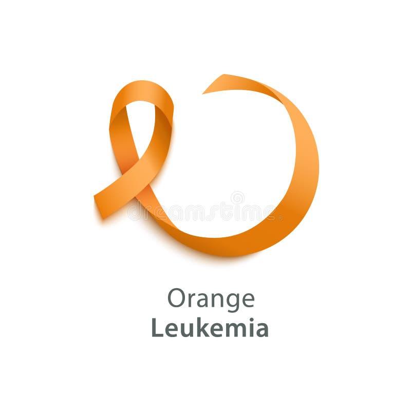 Vector Orange ribbon as symbol of Animal Abuse, leukemia awareness, kidney cancer association, multiple sclerosis. Orange ribbon of Leukemia awareness the kidney vector illustration