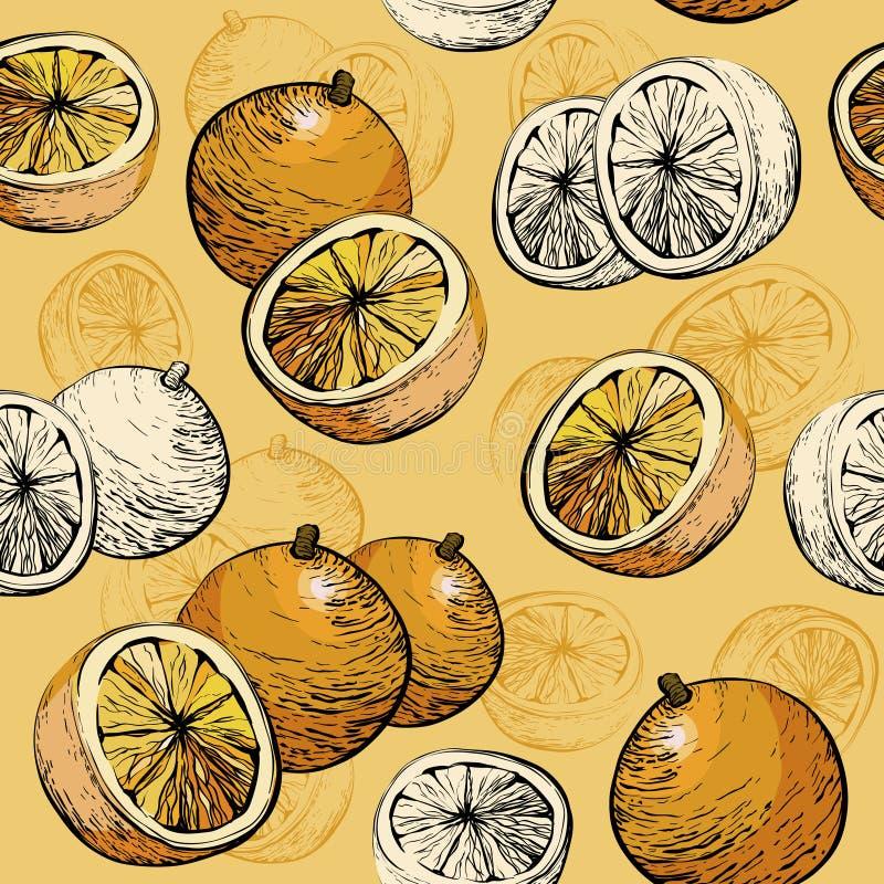 Orange Seamless background. Citrus fruit Juicy pattern. royalty free illustration