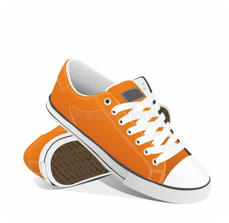 Vector orange sneakers royalty free illustration