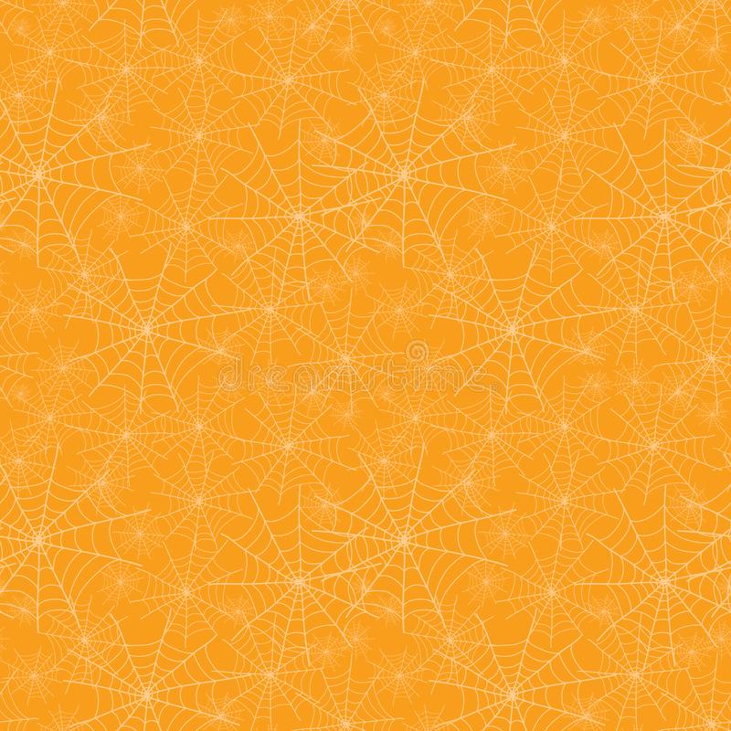 Vector orange spiderweb texture Halloween seamless repeat pattern background. Great for spooky fabric, wallpaper. Giftwrap, packaging projects. Textile design vector illustration