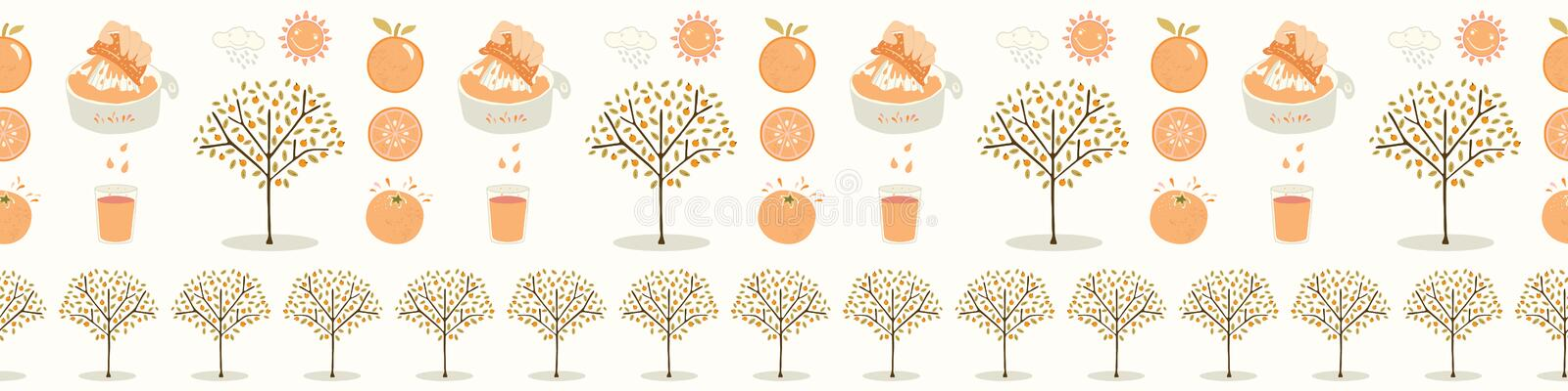 Vector orange tree grove. Hand drawn seamless vector border illustration. Organic garden with juicy oranges, citrus fruit. Freshly squeezed juice for growing royalty free illustration