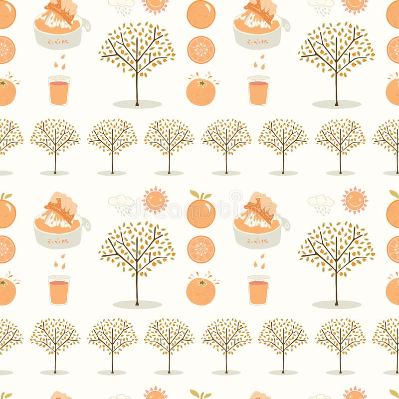 Vector orange tree grove. Hand drawn seamless vector pattern illustration. Organic garden with juicy oranges, citrus fruit and freshly squeezed juice for vector illustration