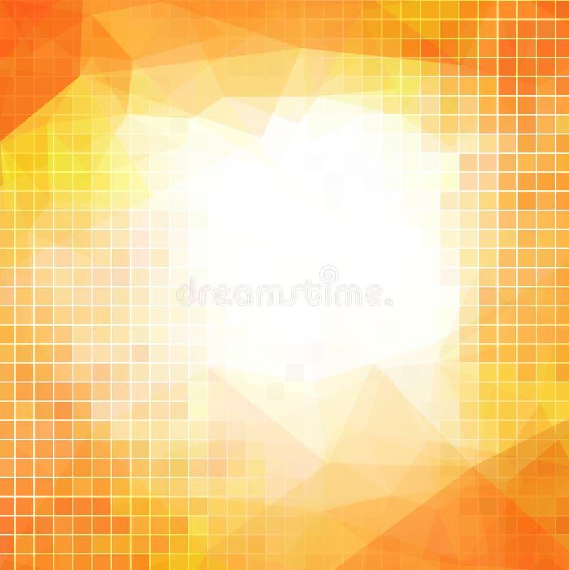 Vector oranje abstracte achtergrond voor zaken met vierkanten royalty-vrije illustratie
