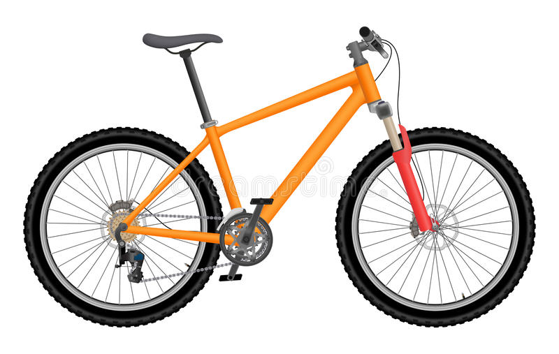 Vector oranje fiets stock foto's