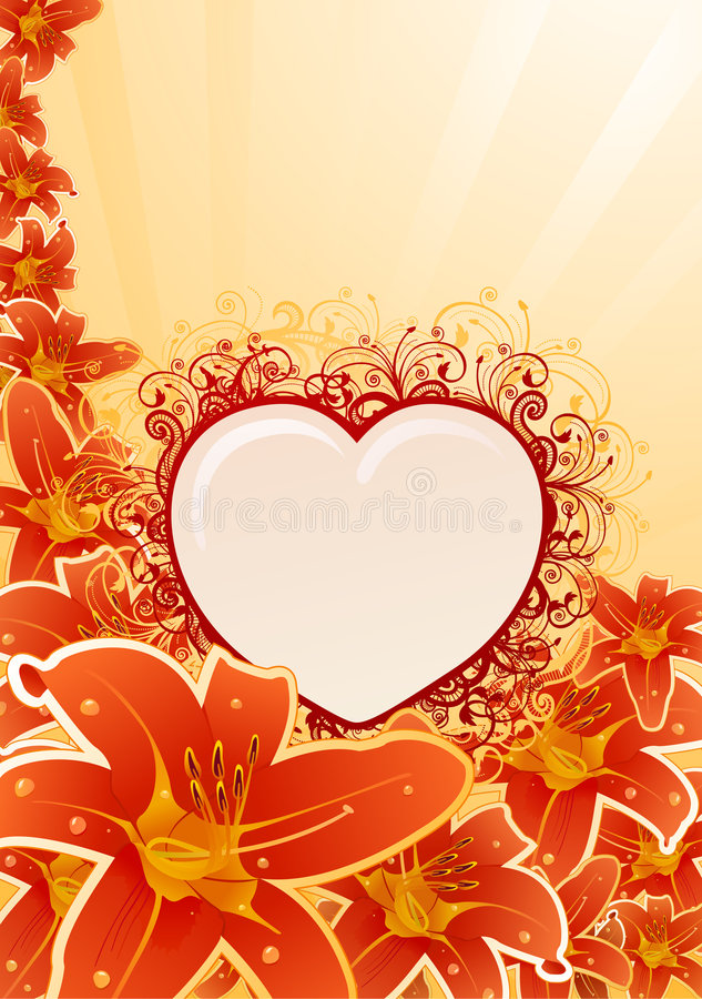 Download Vector Orchid Frame With Floral Heart Stock Images - Image: 7809804
