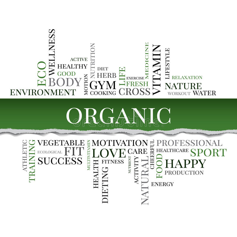 Vector organic concept related words in tag cloud. Organic concept related words in tag cloud with different association organic and healthy terms. The effect of stock illustration