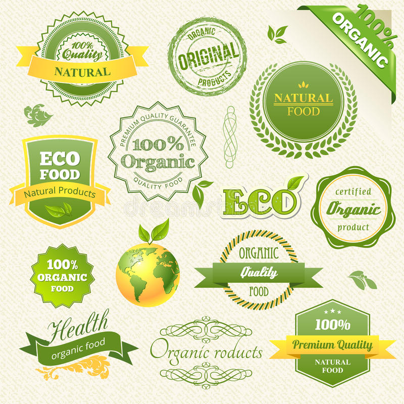 Free Vector Organic Food, Eco, Bio Labels And Elements Royalty Free Stock Photography - 27834477