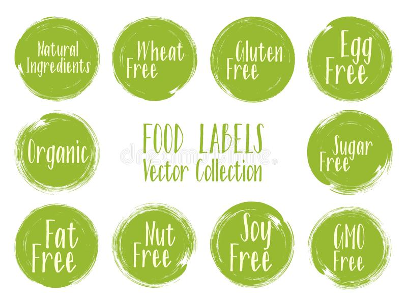Vector organic labels, natural ingredients emblems, sugar free icon for natural products packaging. Organic, soy, wheat, gluten, nut, GMO, Sugar, egg, fat free royalty free illustration