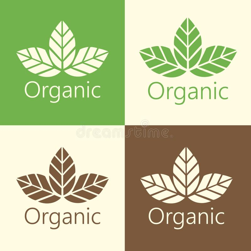Vector Organic Leaves Logo Illustration royalty free illustration