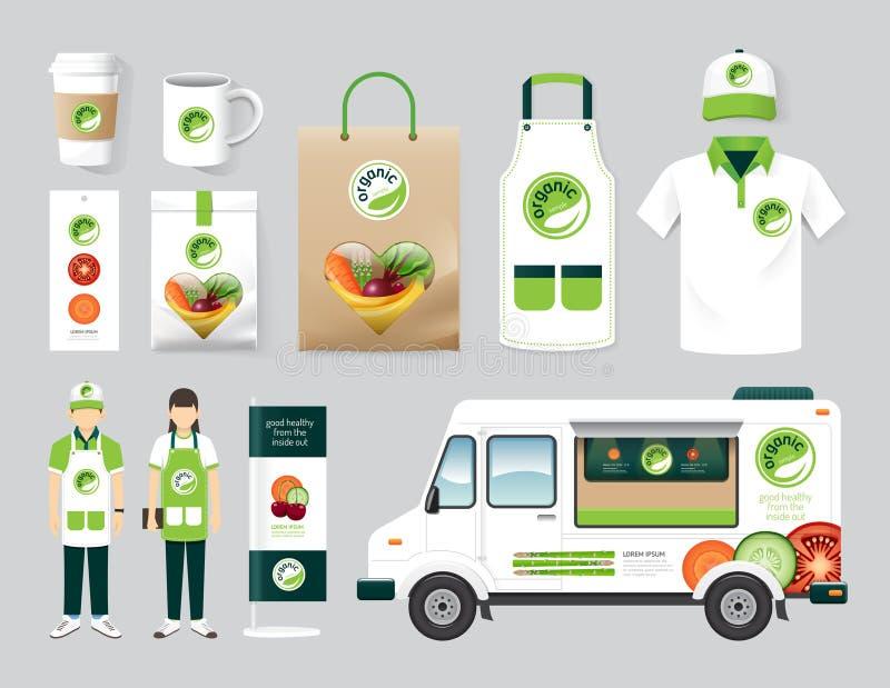 Vector organic restaurant design set street food stock illustration